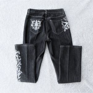 4 S Chicos Platinum embroidered jeans pants high